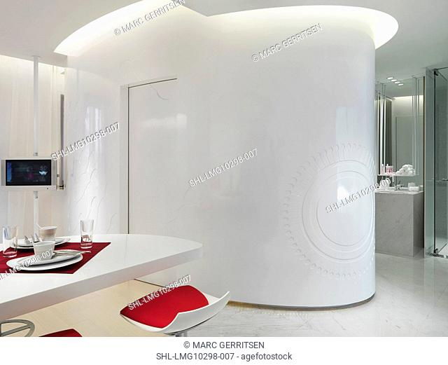 Dining area in white modern home