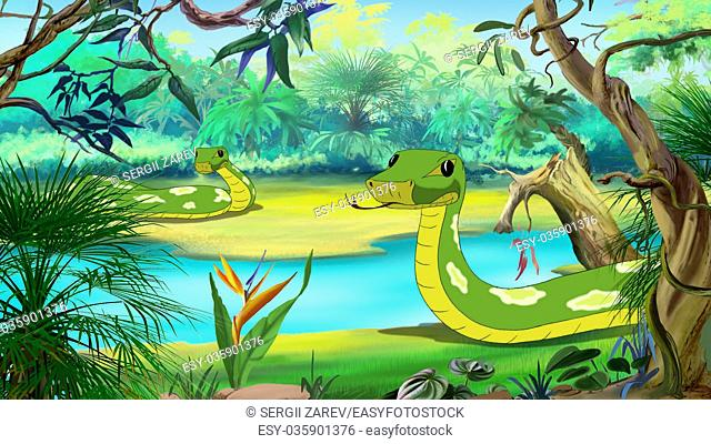 Green Anaconda - the largest Snake. Digital painting full color illustration