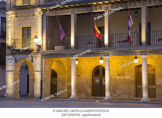 City hall square by dusk in Burgo de Osma village Soria province Castile Leon Spain