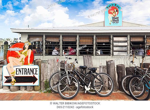 USA, Florida, Florida Keys, Key West, sign for the Half Shell Raw Bar
