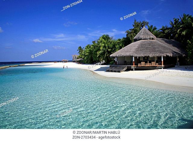 Strandbereich und Tauchbasis der Malediveninsel Ellaidhoo, Ari-Atoll, Malediven, Indischer Ozean, Beach and Divebase of the Island Ellaidhoo, Ari-Atoll