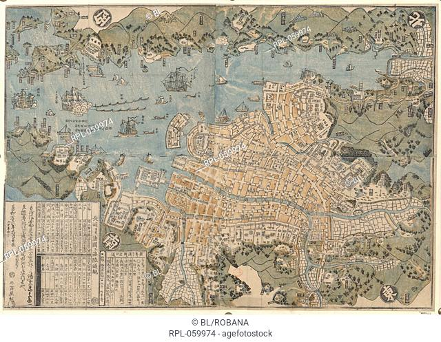 Map of Nagasaki. Image taken from A Map of Nagasaki in the Province of Fisen. Originally published/produced in Nagasaki 1834