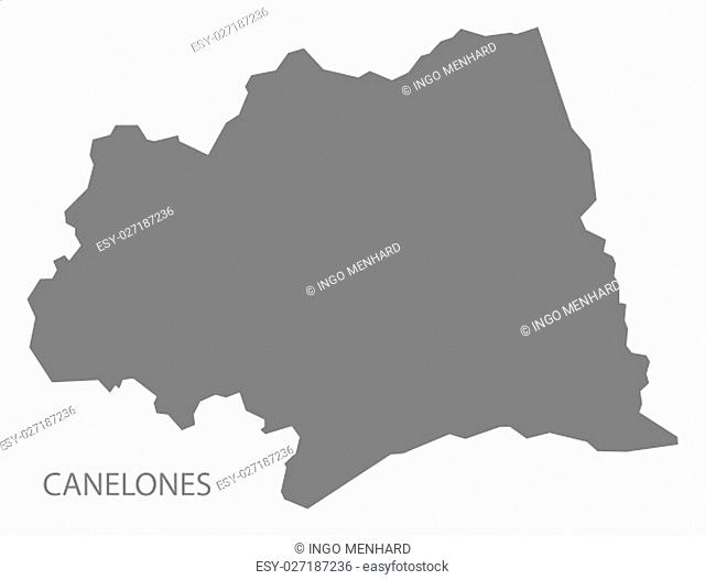 Canelones Uruguay Map in grey