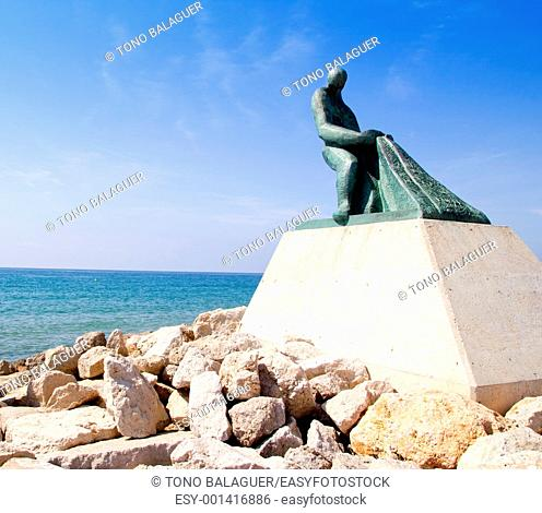 Fisherman statue in Salou Beach at Catalonia Spain