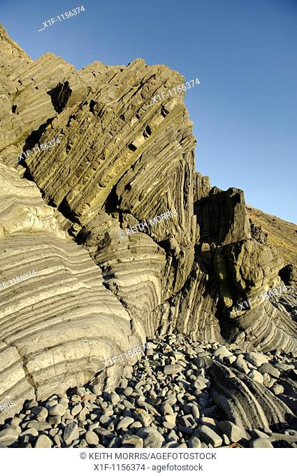 rocks of Silurian age Llandovery era forming a well-developed turbidite sequence of dark silty shales alternating with paler sandstones and gritstones