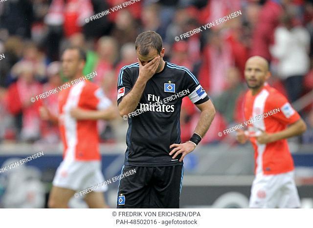 Hamburg's Rafael van der Vaart reacts during the German Bundesliga match between FSVMainz and Hamburger SV at Coface Arena in Mainz,Germany, 10 May 2014