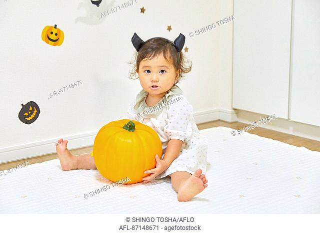 Japanese child dressed for Halloween