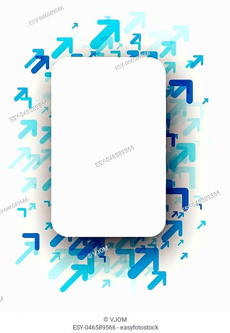 White background with blue arrows pattern. Vector paper illustration