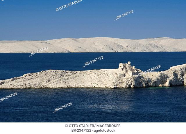 Rocky coast, castle ruins and karst landscape at Ljubacka Vrata inlet, Pag Island, Adriatic Sea, Gulf of Kvarner, Croatia, Europe