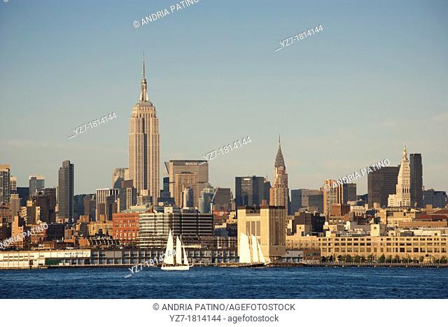 Empire State Building in Mid-town Manhattan from Jersey City, New Jersey