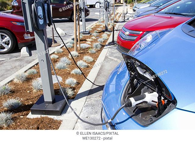 Several electric cars plugged into EV charging stations in a workplace parking lot