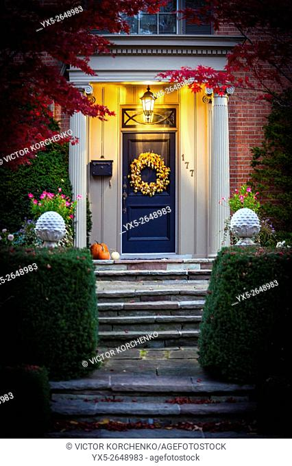 Entrance of a suburban mansion