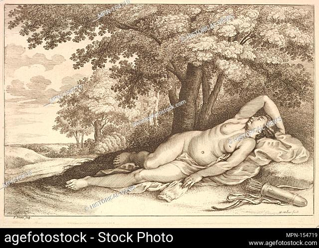 Sleeping figure of Diana the huntress. Etcher: Wenceslaus Hollar (Bohemian, Prague 1607-1677 London); Etcher: Paulus Pontius (Flemish
