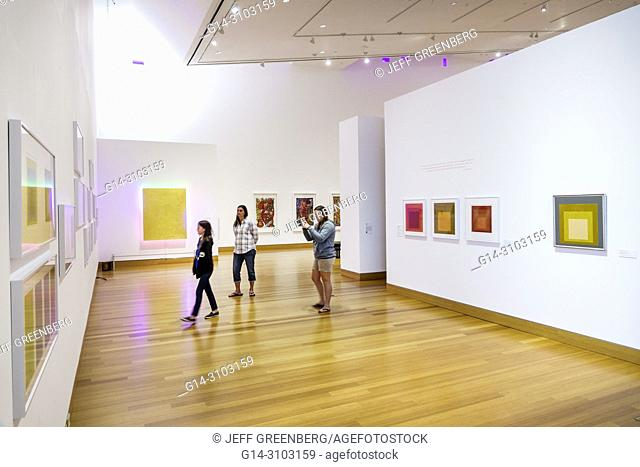 Florida, Gainesville, University of Florida, Samuel P. Harn Museum of Art, gallery, Poetic and Political, exhibition, paintings, Josef Albers, woman, girl