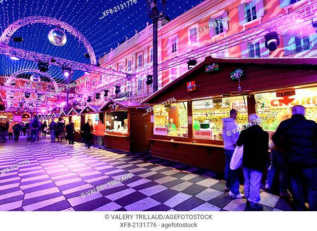 Christmas decoration, Place Massena, Nice, Alpes-Maritimes, French Riviera, Côte d'Azur, Provence-Alpes-Côte d'Azur, France