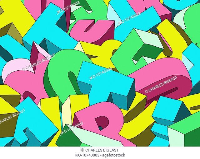 Jumble of alphabet letters