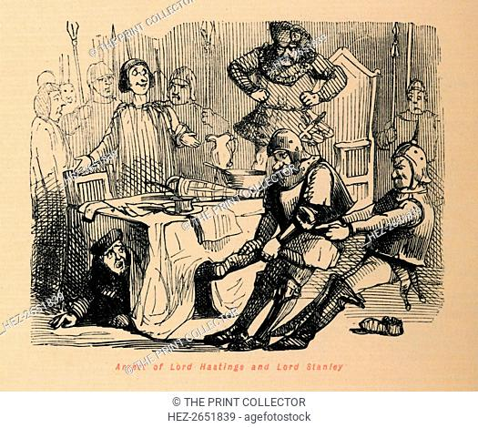 'Arrest of Lord Hastings and Lord Stanley', c1860, (c1860). A caricature of William Hastings, 1st Baron Hastings (c1431-1483) and Thomas Stanley