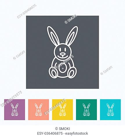 Rabbit toy thin line flat vector related icon set for web and mobile applications. It can be used as - logo, pictogram, icon, infographic element