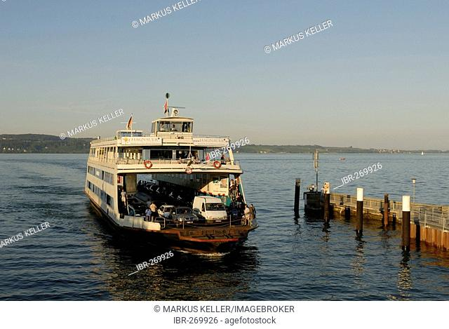 A ferry-boat on lake constance, Meersburg, Baden Wuerttemberg, Germany, Europe