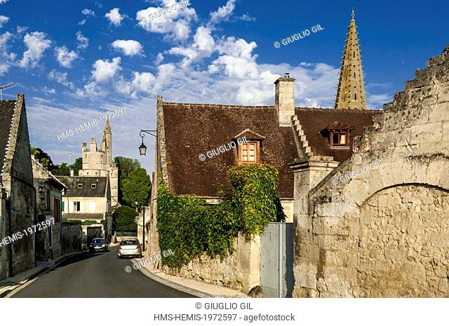 France, Aisne, Septmonts, main street and Donjon