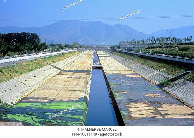 Asia, canal, China, Asia, city, concrete, environment, environmental pollution, Hongkong, infrastructure, New Territ