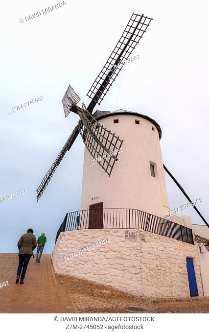 Traditional windmills, Barrio del Albaicín, Campo de Criptana, Ciudad Real province, Castile la Mancha, Spain. Route of Don Quijote