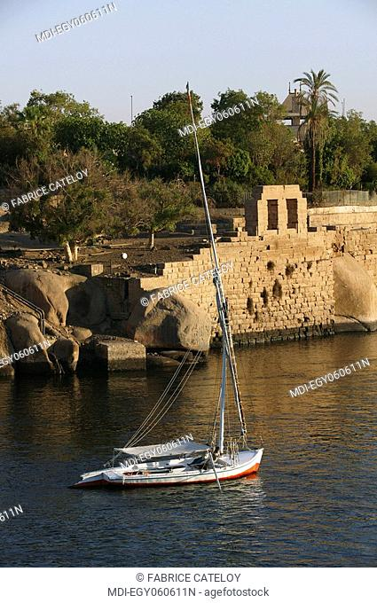 Felouque on the Nile at the foot of the Elephantine Island a day without wind