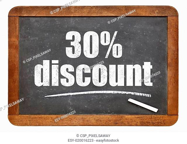 thirty percent discount blackboard sign