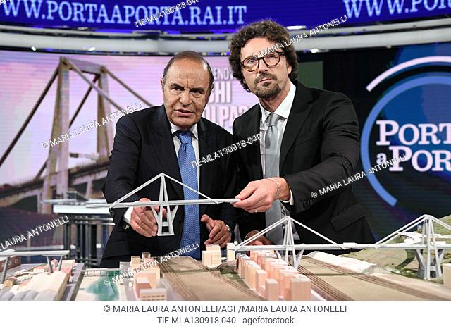 Journalist Bruno Vespa, Italian Minister of Transportation and Infrastructures Danilo Toninelli with the model of the Morandi Bridge collapsed in Genoa during...