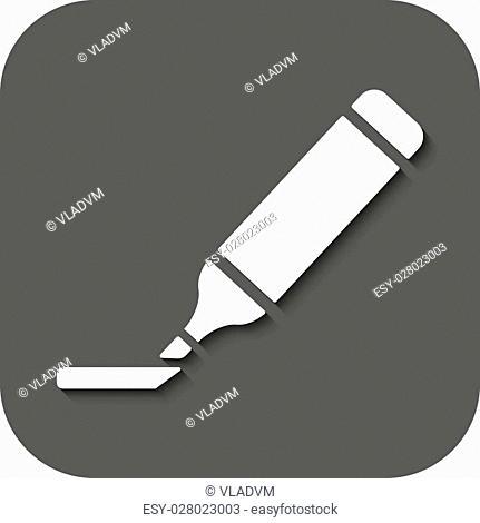 The marker icon. Highlighter symbol. Flat Vector illustration. Button