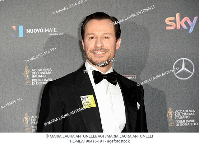 Stefano Accorsi during the red carpet of David of Donatello prize, Rome, ITALY-18-04-2016