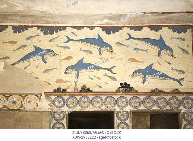 Fresco of dolphins, Queen Megaron, Knossos palace archaeological site, Crete island, Greece, Europe