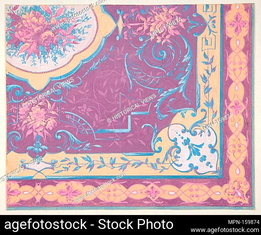 Wallpaper design featuring bouquets of roses, strapwork, and rinceaux. Artist: Jules-Edmond-Charles Lachaise (French, died 1897); Artist: Eugène-Pierre Gourdet...