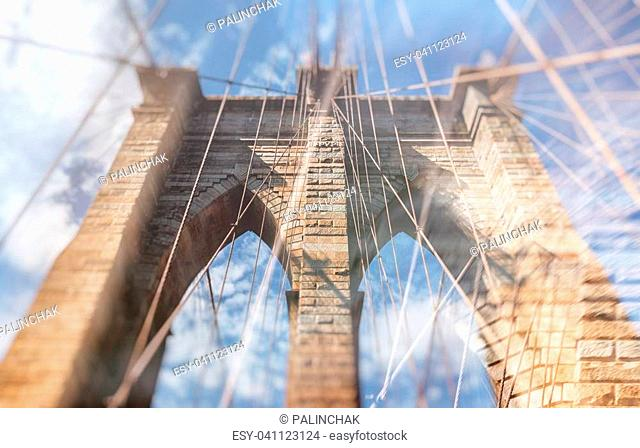 Abstract blurred image of Brooklyn Bridge in New York City