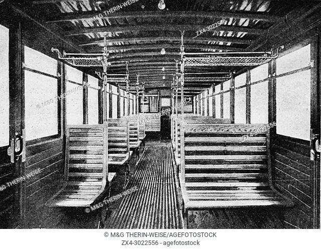 Interior of a Second class subway car, Paris, Picture from the French weekly newspaper l'Illustration, 14th July 1900
