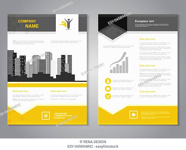 Vector modern brochure with arrow design, abstract flyer with background of monochrome buildings. Layout template. Aspect Ratio for A4 size