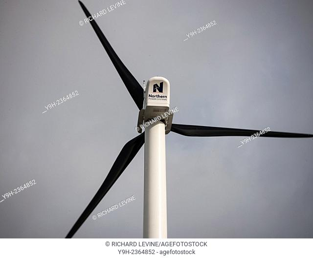 The first commercial-scale wind turbine in New York, located at the Sunset Park Material Recovery Facility in Brooklyn is dedicated