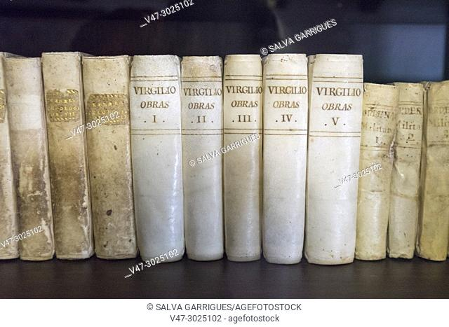 Old books in the library of the Casa Orduña de Guadalest Museum