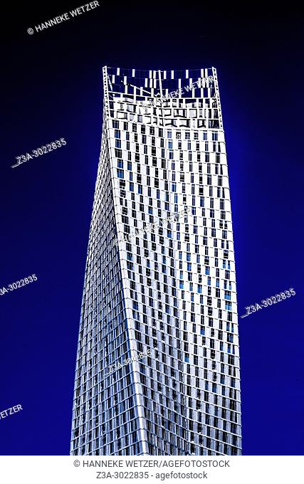 Detail of the twisted Cayan Tower at Dubai Marina, Dubai, UAE