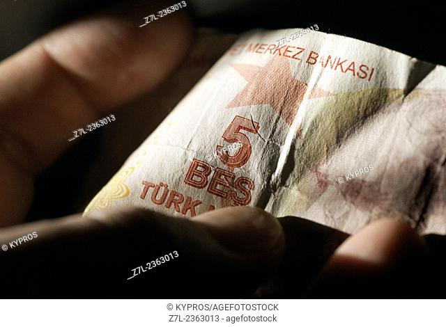 Money Cash Turkish Lire Banknotes Person Real People Mans Hand Gripping Turkish Lire Money Banknotes Banknote Cash Paper Currency Money And Finance Business...