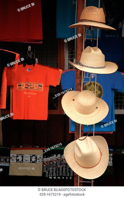 Straw hats and T-shirts for sale in the souvenir market in Xochimilco  Xochimilco  Mexico