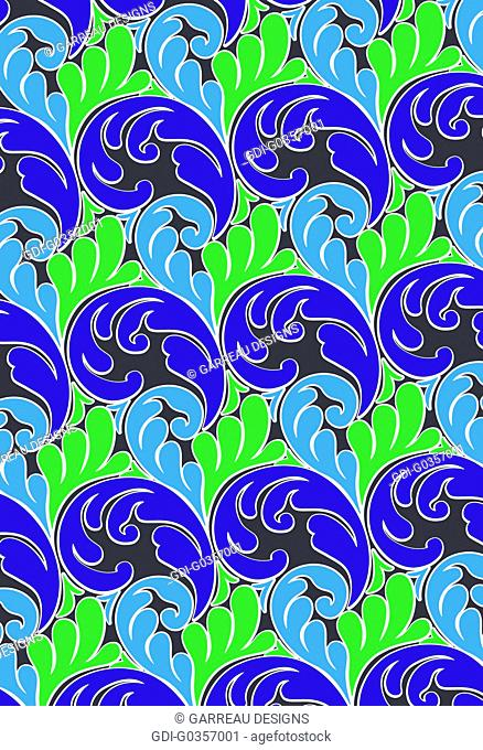 Blue and green fern design