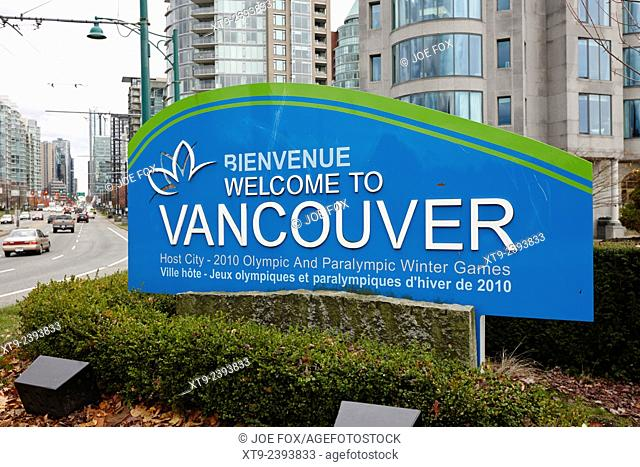 welcome to Vancouver sign coal harbour BC Canada