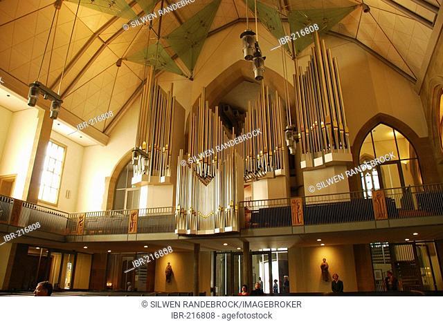 Refurbished interior with organ Stiftskirche Stuttgart Baden Wuerttemberg Germany