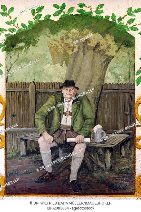 Mural depicting writer Oskar Maria Graf, 1894 - 1967, at his birth place, Berg, Upper Bavaria, Germany, Europe