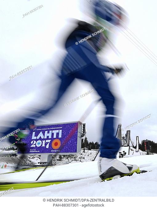 An athlete trains in the stadium ahead of the Nordic World Ski Championships in Lahti, Finland, 21 February 2017. The World Championships run from 22 February...