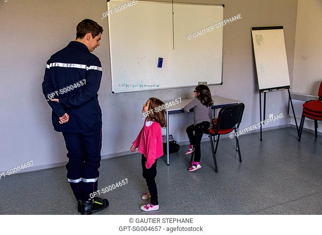 DISCOVERING THE FIRE STATION, ROQUEFORT SUR SOULZON, AVEYRON (12), FRANCE, EUROPE