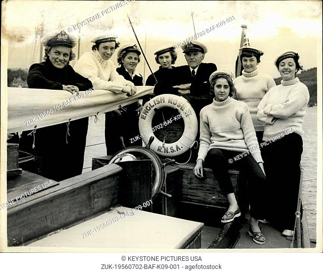 Jul. 02, 1956 - Almost All-Girl Crew Prepares to Take Part in Torbay Lisbon International Sail-training Ship Race.Keystone One Photo Shows:- Captain Commander C