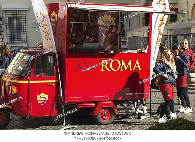 AS Roma football team marketing van and girls at Piazza di Spagna, Rome, Lazio, Italy
