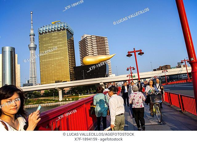 Sky Tree and Asahi building from Azuma bridge, Asakusa District, Tokyo, Japan